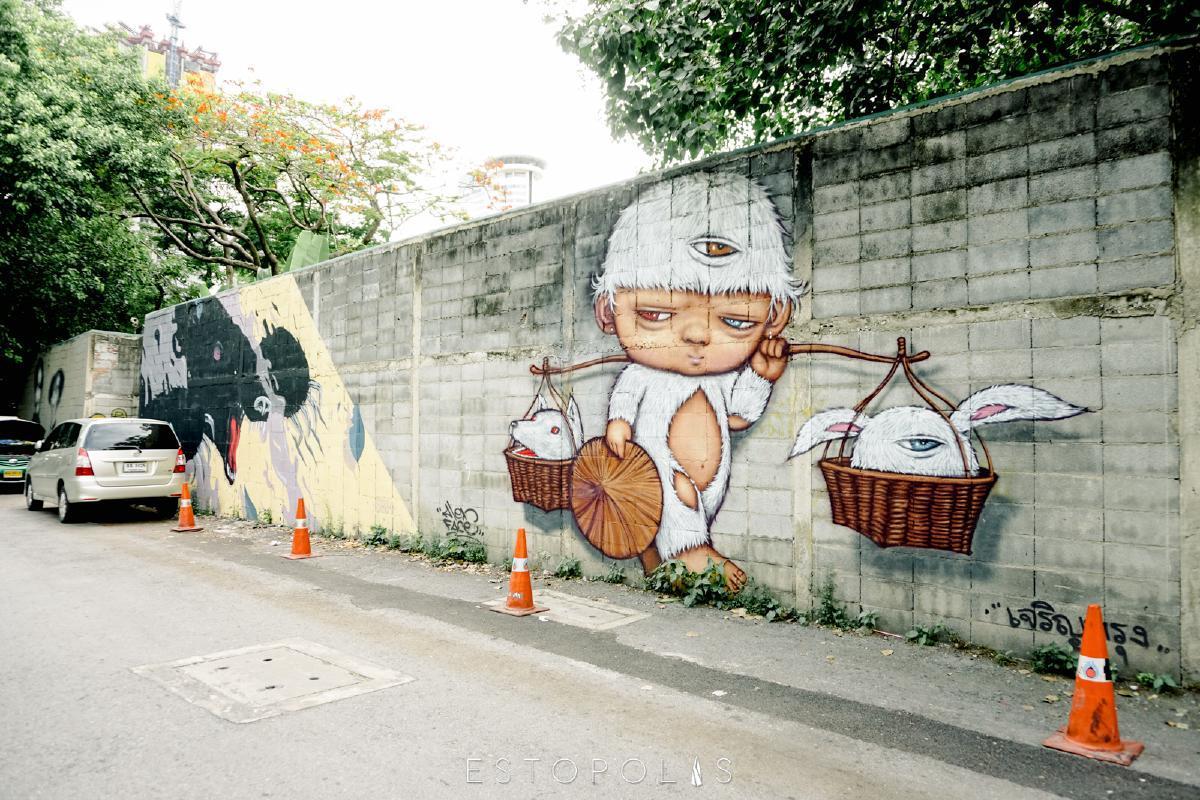 Wall Art @ ซอยเจริญกรุง 32 ซึ่งอยู่ด้านข้างของไปรษณีย์กลางบางรัก ผลงานจาก Alexmardi (Source: ESTOPOLIS)