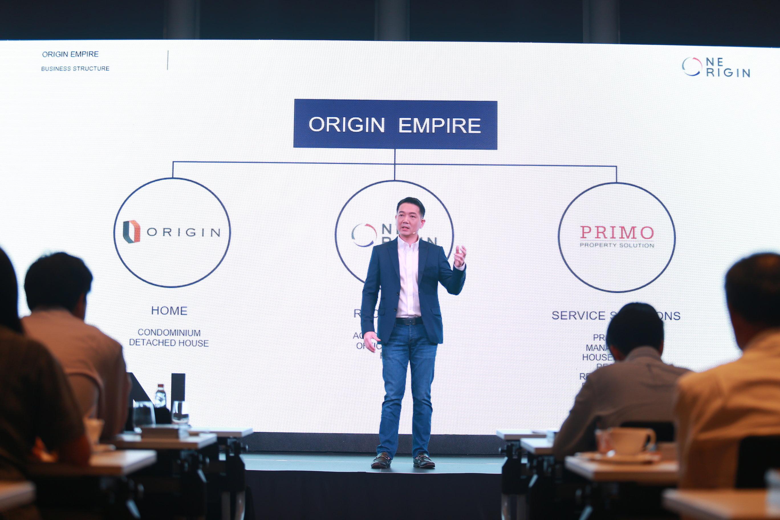 นายพีระพงศ์ จรูญเอก CEO บริษัท ออริจิ้น พร็อพเพอร์ตี้ กล่าวต้อนรับ พร้อมกล่าวแนะนาออริจิ้นกับการก้าวสู่ศักราชใหม่ของธุรกิจที่สร้างรายได้หมุนเวียน